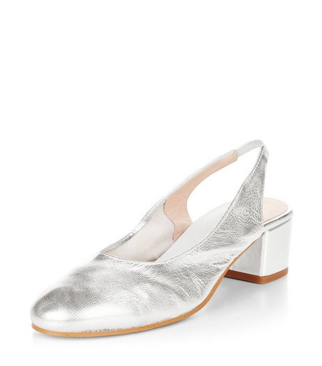 Silver Premium Leather Sling Back Court Shoes  | New Look