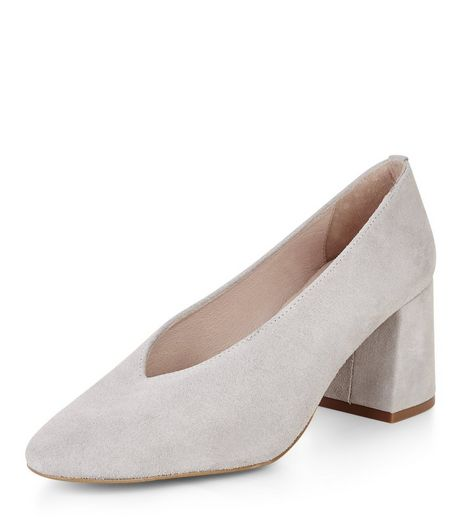 Grey Premium Leather Flared Court Shoes  | New Look