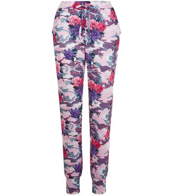 Pink Floral Camo Print Joggers