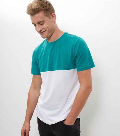 Green Colour Block T-Shirt  | New Look