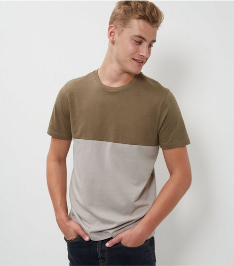 Khaki Colour Block T-Shirt  | New Look