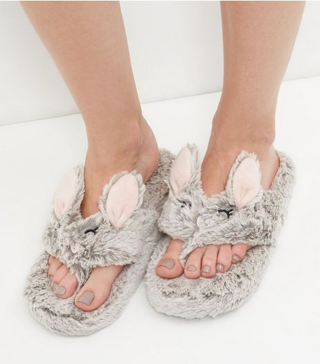 Grey Faux Fur Flip Flop Slippers | New Look