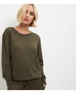 Khaki Cuffed Sweater  | New Look