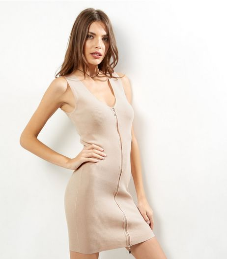 Shell Pink Zip Front Sleeveless Bodycon Dress | New Look