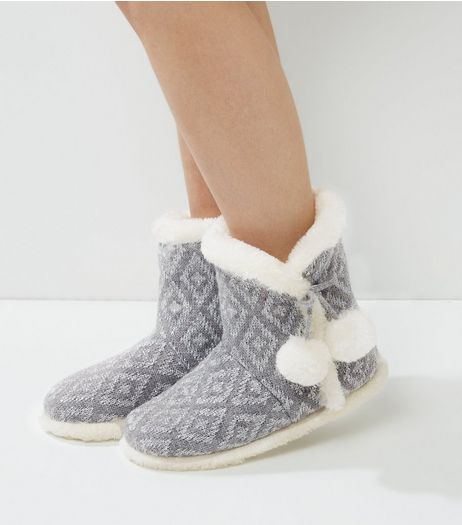 Grey Geo Print Pom Pom Slipper Boots | New Look