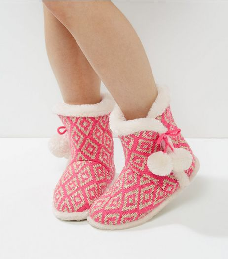 Bright Pink Geo Print Pom Pom Slipper Boots | New Look