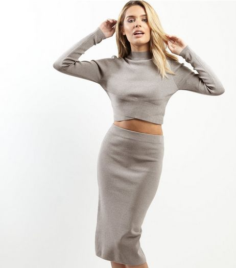 Grey Split Back Midi Pencil Skirt  | New Look