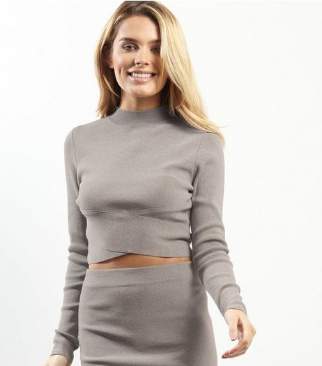 Grey Cross Front Cropped Jumper | New Look