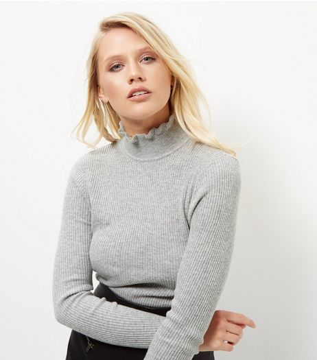 Pale Grey Frill Trim Funnel Neck Top | New Look