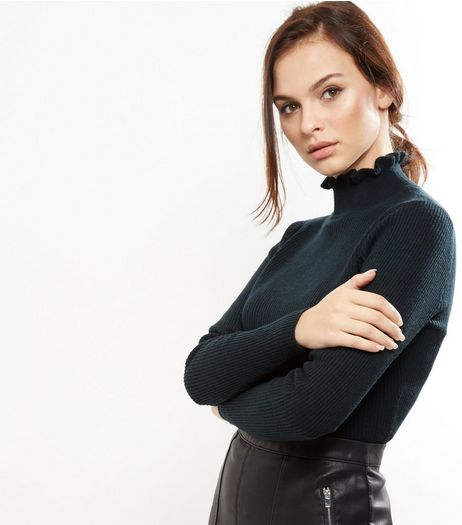 Dark Green Frill Trim Funnel Neck Top | New Look