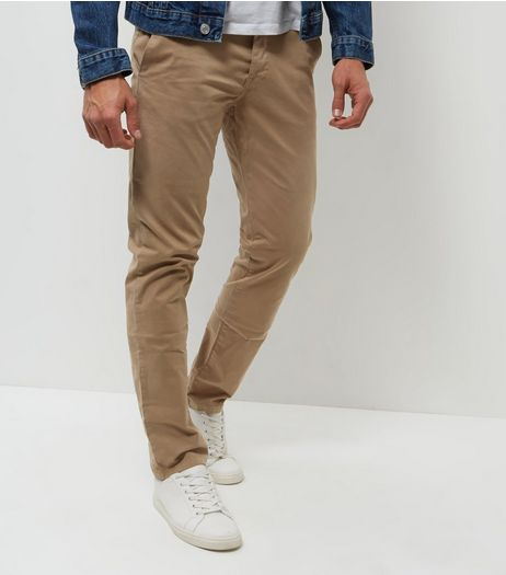 Stone Slim Fit Chinos  | New Look