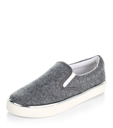Teens Grey Metallic Trim Slip On Plimsolls | New Look