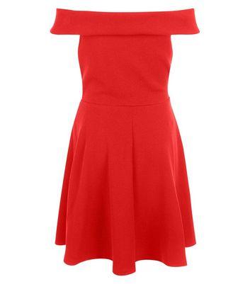teens-red-bardot-neck-skater-dress