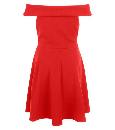 Teens Red Bardot Neck Skater Dress | New Look