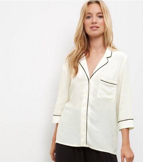 White Contrast Trim 3/4 Sleeve Pyjama Shirt  | New Look