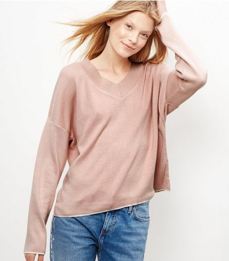 Shell Pink V Neck Jumper  | New Look