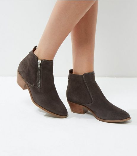 Dark Grey Suede Side Zip Western Boots | New Look