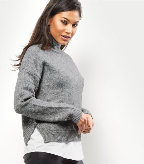 Grey Turtle Neck 2 in 1 Jumper | New Look