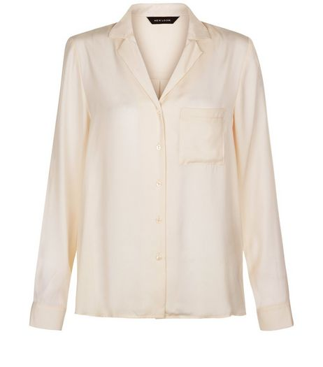 Cream Satin Pocket Front Long Sleeve Shirt | New Look