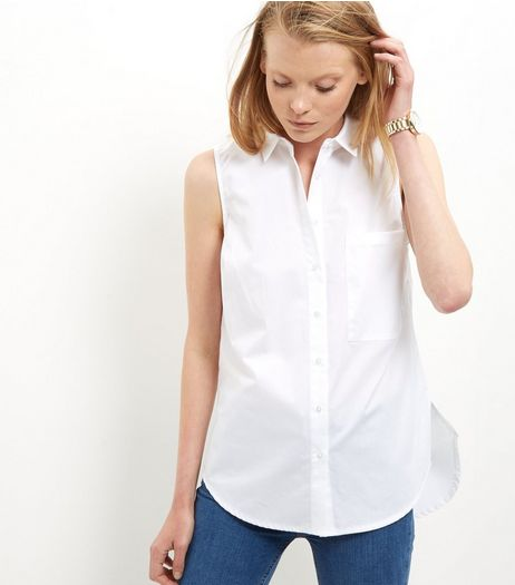 White Split Side Longline Sleeveless Shirt  | New Look