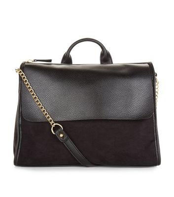Black Leather-Look Satchel