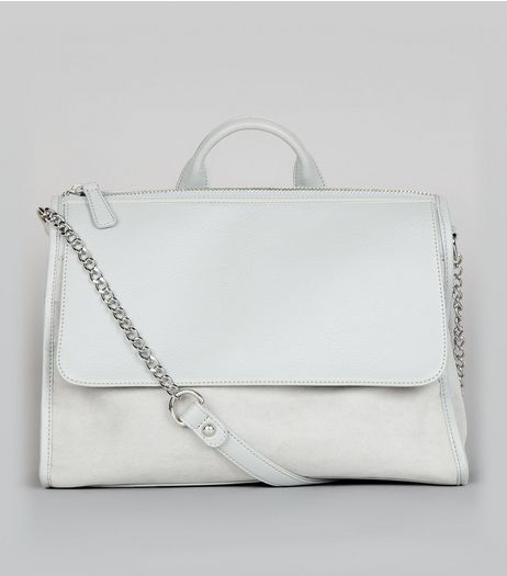 Grey Suedette Front Satchel | New Look