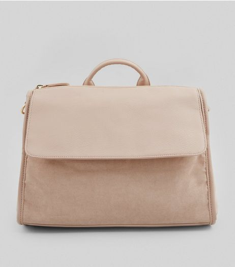Pink Suedette Front Satchel | New Look