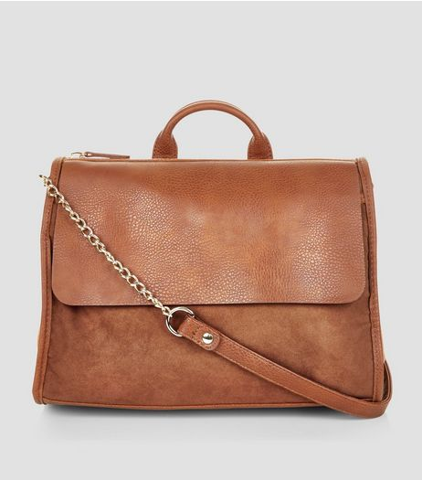 Brown Suedette Front Satchel | New Look