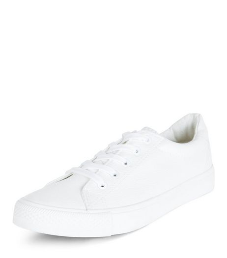 Teens White Leather-Look Lace Up Plimsolls | New Look