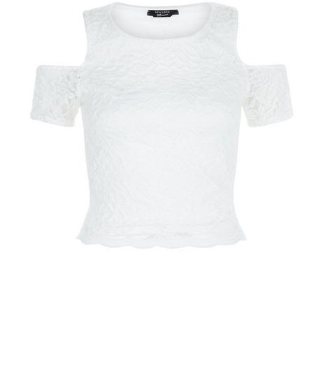 Teens White Lace Cold Shoulder Top | New Look