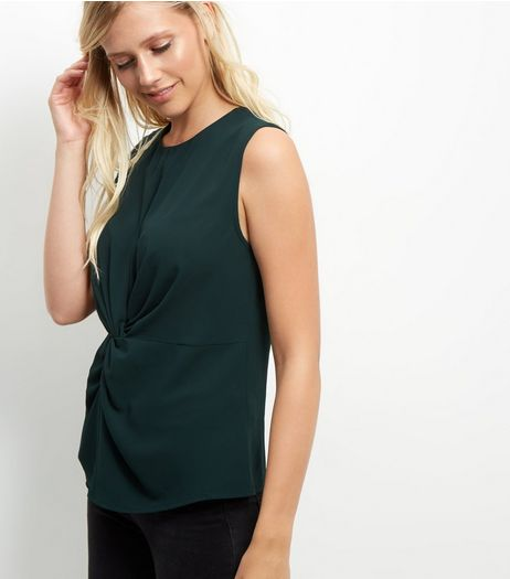 Dark Green Twist Front Sleeveless Top  | New Look