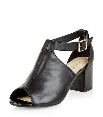 Sandalo  donna Black Comfort Leather Cut Out Peep Toe Boots