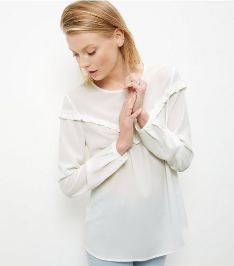 White Ruffle Trim Long Sleeve Top | New Look