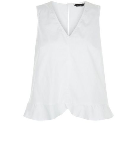 White Ruffle Trim V Neckline Top | New Look