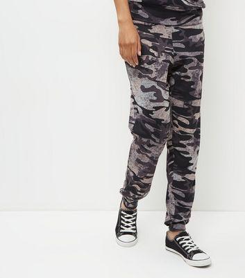 Dark Grey Camo Print Cuffed Joggers