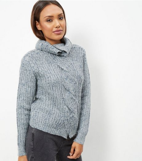 Blue Vanilla Blue Ribbed Cowl Neck Jumper  | New Look