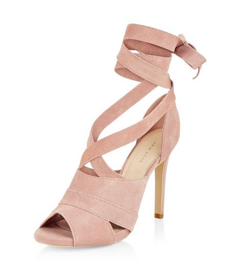 Pink Leather Tie Up Heeled Sandals  | New Look