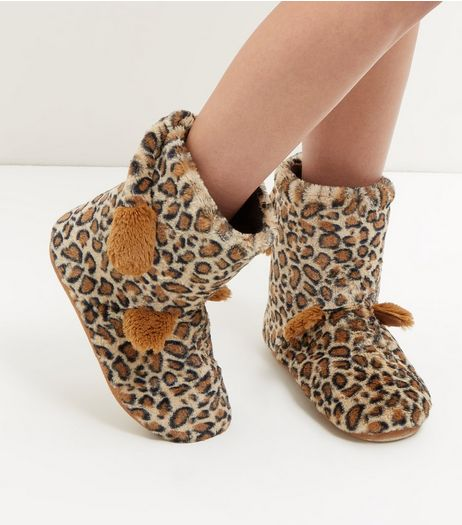Brown Leopard Faux Fur Slipper Boots | New Look