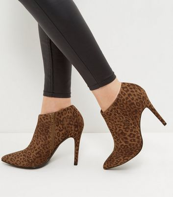Stone Suedette Leopard Print Pointed Shoe Boots
