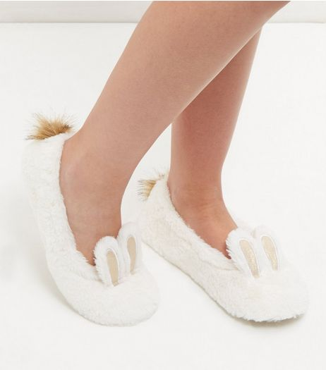 White Faux Fur Bunny Slippers | New Look