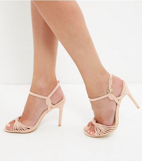 Cream Suedette Knot Strappy Heeled Sandals | New Look
