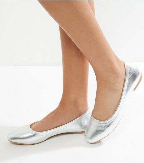 Silver Patent Square Toe Ballet Pump | New Look