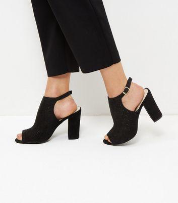 Sandalo  donna Black Comfort Suedette Laser Cut Out Heeled Sandals