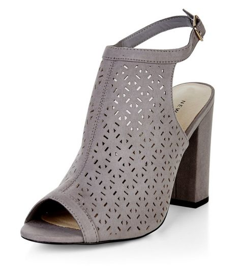 Grey Comfort Suedette Laser Cut Out Heeled Sandals  | New Look