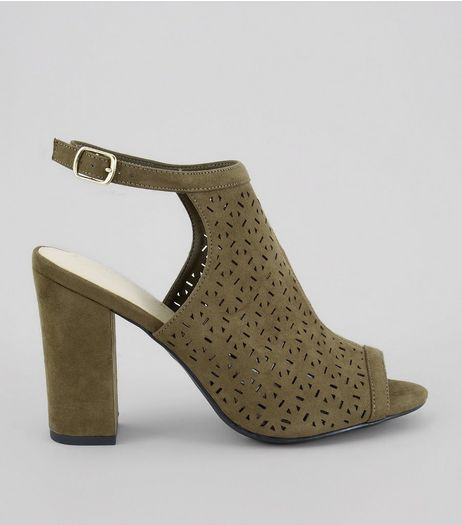 Khaki Comfort Suedette Perforated Heeled Sandals | New Look