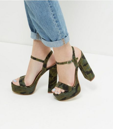 Khaki Double Ankle Strap Platform Heels | New Look