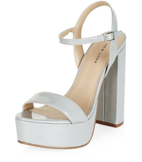 Grey Patent Platform Heels | New Look