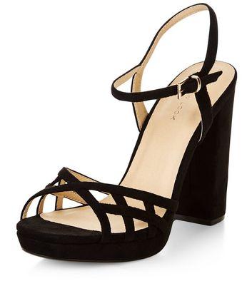 Sandalo  donna Black Suedette Strappy Block Heel Sandals