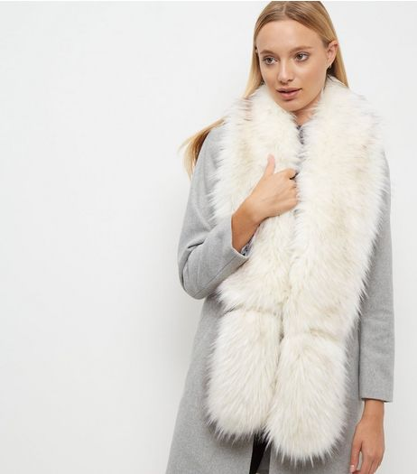 White Faux Fur Stole  | New Look