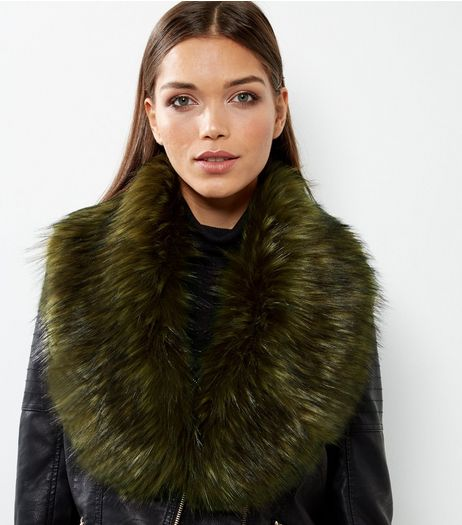 Khaki Faux Fur Collar | New Look